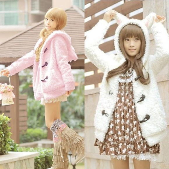 Bunny Coat in Pink or White