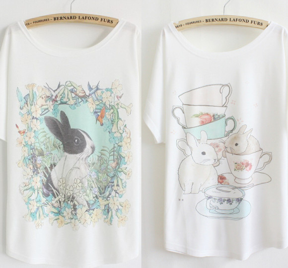 2014-Summer-fashion-loose-women-s-cotton-T-shirt-print-garland-flowers-rabbit-good-quality-batwing
