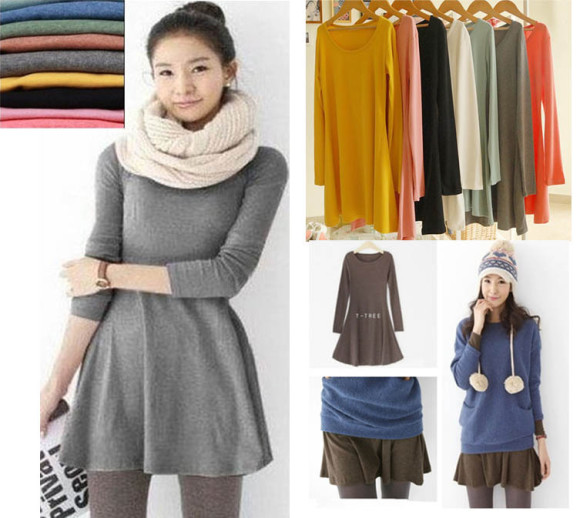 2015-Fashion-Europe-and-America-Elegant-Ladies-Autumn-Basic-Dresses-Korean-Novelty-Women-Solid-Color-Long