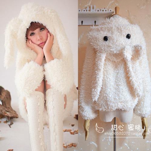 Fuzzy White/Ivory Bunny Coat