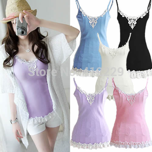 Free-shipping-Lace-patchwork-solid-strap-sleeveless-hanter-top-tee-shirt-casual-women-cotton-vest-tops