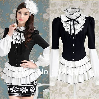 Free-shipping-new-spring-2014-black-white-patchwork-ruffles-lantern-sleeve-women-blouses-shirts-peplum-swing