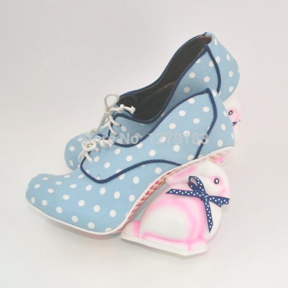 High-quality-new-fashion-cute-dots-pink-bunny-heel-shoes-alternative-height-increasing-high-heel-shoes