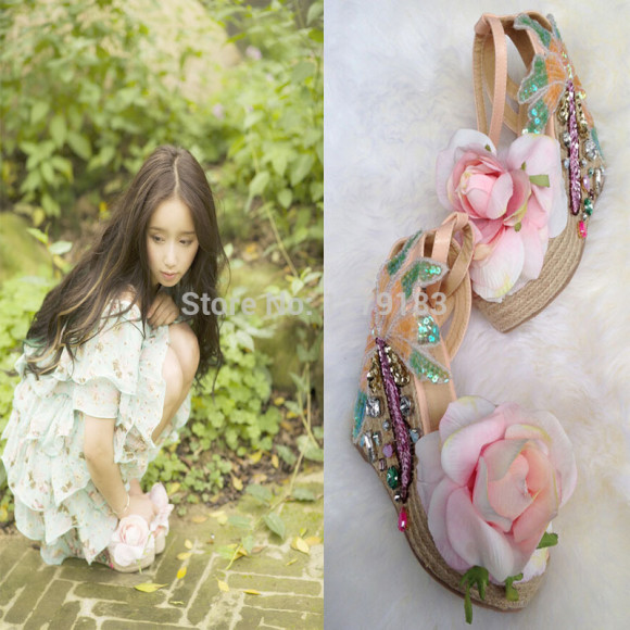 High-qualty-new-fashion-pink-flower-glitter-women-sandals-bling-bling-rhinestone-princess-wedges-shoes