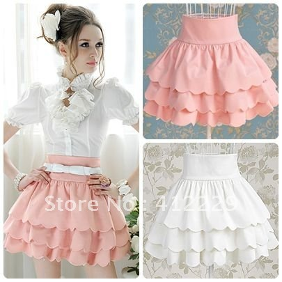 High-waist-skirt-new-2015-solid-wave-bottom-pleated-three-layers-knee-length-cute-ball-gown