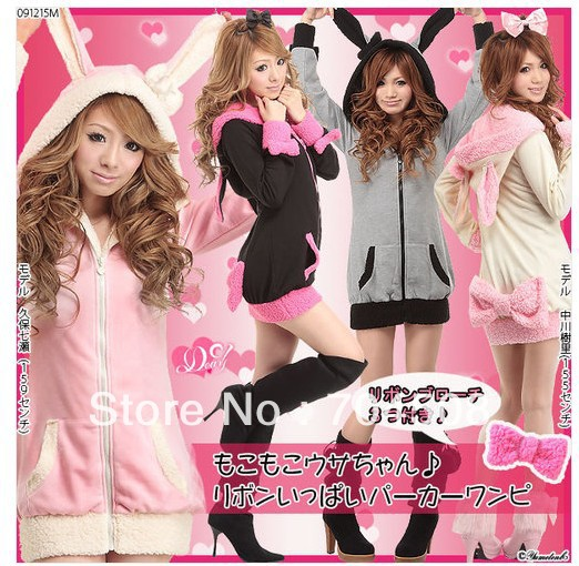 J51-Womens-Cute-Bunny-Ear-Hoodie-Sherpa-Lolita-Nana-Jacket-Coat-4-Color-XS-S