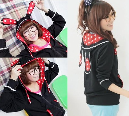 L1832-Korea-Women-Girl-Sweet-Lolita-Rabbit-Dot-Ear-Hoodies-Coat-Jacket-Black-