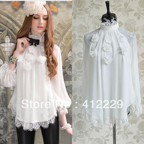 Ladies-2015-Pink-Doll-New-Arrival-White-Flower-Patchwork-Loose-Shirt-Lace-Chiffon-Full-Sleeve-Blouse