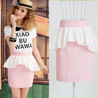 New-2014-summer-pink-ruffles-peplum-swing-high-waist-mini-half-women-sheath-pencil-formal-cute