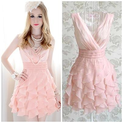 Pink-ruffles-pleated-bottom-ball-gown-knee-length-women-high-street-slim-v-neck-sleeveless-cute