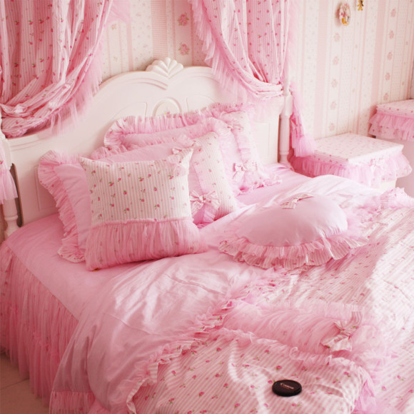 S-V-Luxury-Korean-bedding-set-Lace-bedclothes-designer-bed-linen-Pink-duvet-covers-cotton-christmas