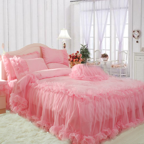 S-V-Mordern-Korean-bedding-sets-designer-bedclothes-luxury-pink-bed-linen-lace-duvet-cover-christmas