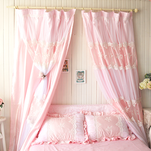 S-V-ikea-korean-high-quality-pink-princess-window-curtain-lace-tulle-drapes-bedroom-curtains-magic