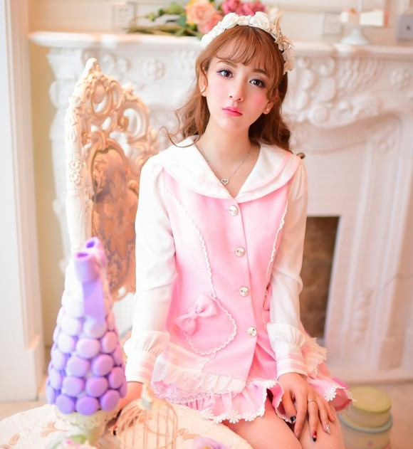 Princess-sweet-lolita-coat-Candy-rain-Spring-College-style-pink-Cute-Sailor-collar-patchwork-chiffon-coat