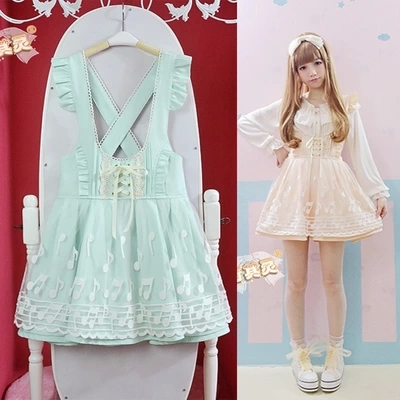2014-New-Summer-High-waist-Cute-Japanese-Overall-dress-Lace-Music-note-short-Overalls-Dresses-Lolita