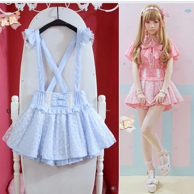 2015-New-Summer-High-Waisted-Cute-Japanese-Ruffle-Lace-Skirt-Hot-Women-Suspender-Detachable-Strap-Skirts