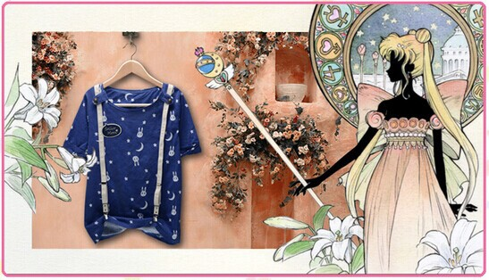 Japanese-Tsukino-Usagi-Sailo-Moon-clothes-anime-cute-blue-rabbits-and-stars-tees-girls
