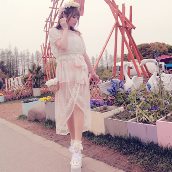 Princess-sweet-lolita-long-skirt-BoBON21-Exclusive-design-holiday-After-short-before-long-printing-fairy-Long