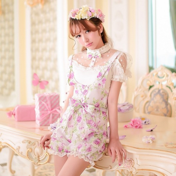 Princess-sweet-lolita-shorts-Candy-rain-Summer-new-Japanese-style-sweet-bow-floral-Tall-waist-straps