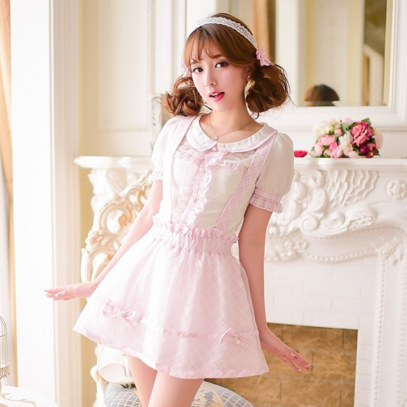 Princess-sweet-lolita-skirts-Candy-rain-princess-sweet-Japanese-style-summer-grid-Tall-waist-Braces-skirt