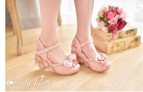Women's Lolita Sweet Party Butterfly-Knot Wedges Sandals Japanese Princess Sandals