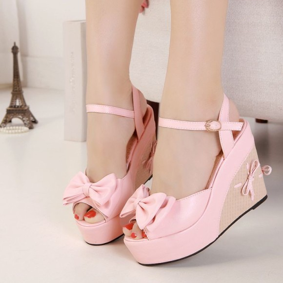 new summer sweet double bow slope thick bottom Princess sandals 138-2 women shoes wedge cute bowknot sandals pumps