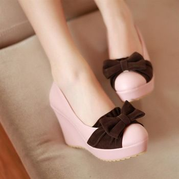 velvet bow wedges