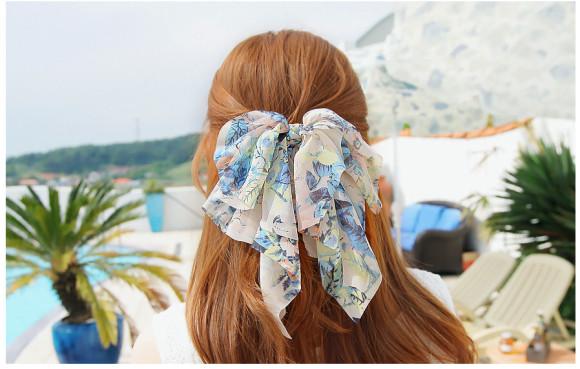 floral chiffon hair bow barrette