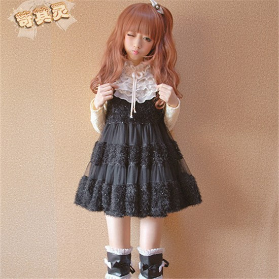 2014-NEW-Autumn-Winter-dress-for-Girls-Women-Lolita-dress-white-pink-black-Lovely-Moe-Japanese