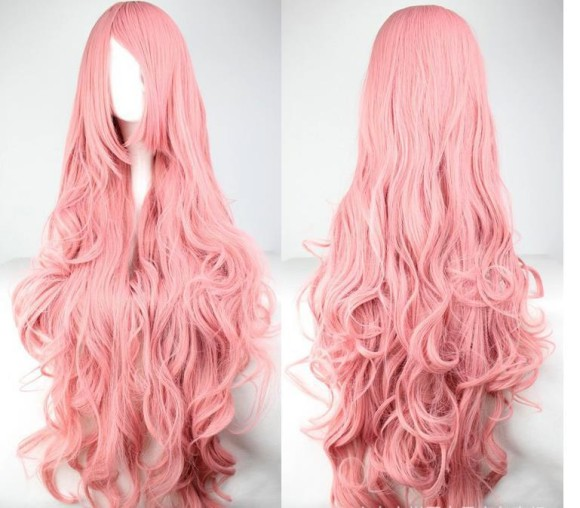 2015-party-new-Long-wavy-Pink-Cosplay-wigs-100CM-Synthetic-wig-Cheap-curly-wigs