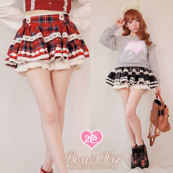 BOBON21-2015-High-Waist-Pleated-Plaid-Cute-lace-Cake-Short-Mini-Skirt-Scottish-Kilt-Tutu-Student