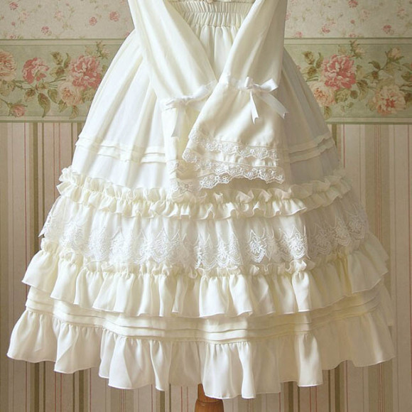 Beige-Black-Lolita-Knee-Length-Skirts-Chiffon-Lace-Ruffle-Sweet-Skirts-Empire-Tiered-skirt-High-Quality