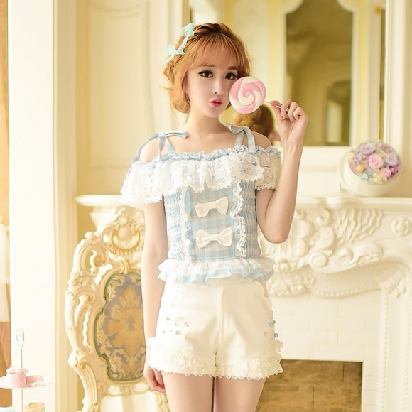 Candy-rain-Princess-sweet-lolita-shorts-summer-Sweet-temperament-Japanese-style-lace-bow-high-waist-shorts