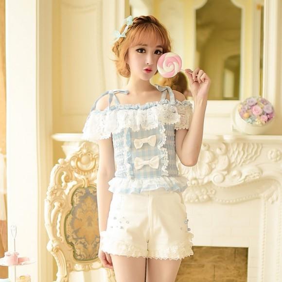 Candy-rain-Princess-sweet-lolita-shorts-summer-Sweet-temperament-Japanese-style-lace-bow-high-waist-shorts