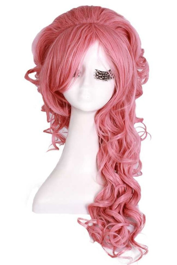 Free-Shipping-30cm-Synthetic-Hair-Lady-s-Princess-Wigs-Long-Dark-Brown-White-Blonde-Purple-Pink