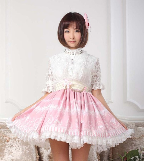 High-quality-Nice-Women-skirts-Pink-Printed-Kawaii-Skirts-Lolita-Sweet-Pink-Lace-Princess-Skirt-High