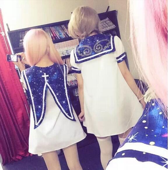 J-fashion-sailor-collar-hag-collar-starry-sky-navy-lolita-dress-white-cute-cosplay-mini-dresses