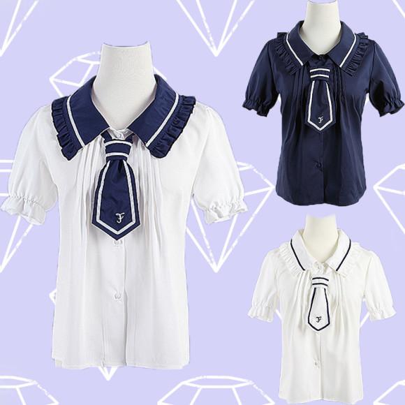 Japanese-Navy-Fungus-Tie-Short-Sleeves-Shirt-Free-shipping