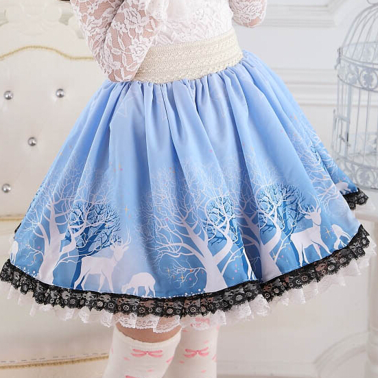 Lolita-Dreamy-Sky-blue-Skirts-Soft-Girls-Stars-Forest-Tree-Cartoon-Elks-Beautiful-Princess-Skirt-Lovely