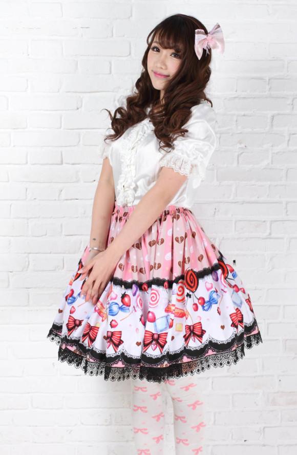Lolita-princess-sweet-Pink-lollipop-girls-pleated-half-skirt-bust-skirt-short-skirt