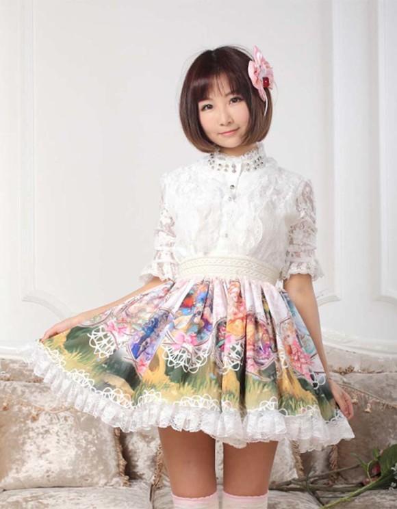 Lolita-sweet-constellation-lace-princess-skirt-bust-skirt-short-skirt-sk