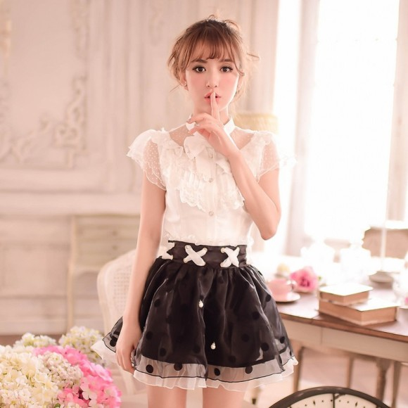 New-Arrival-Women-High-Waist-Chiffon-Slim-Skirt-Princess-Ladies-Organza-Pleated-Skirt-Black-White-Free