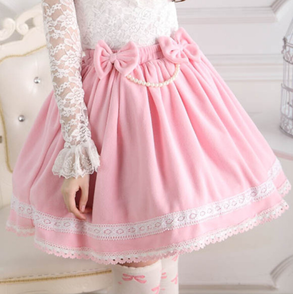 New-Winter-Pink-Pretty-Skirts-Lolita-Princess-Pleated-Lace-Skirt-Solid-Korean-Style-Skirts-Women-Lovely