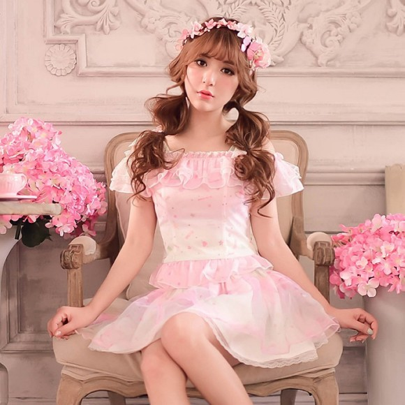 Princess-sweet-lolita-blouse-Candy-rain-sweet-Condole-belt-Dew-shoulder-falbala-rainbow-chiffon-blouse-WL118