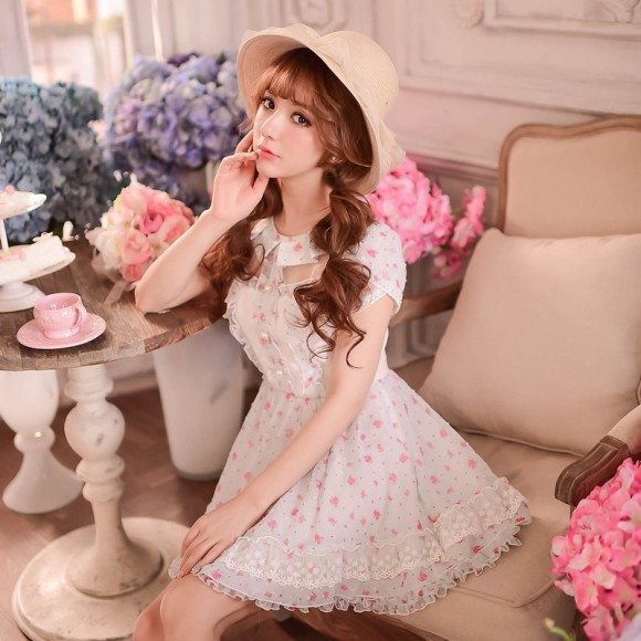 Princess-sweet-lolita-dress-Candy-rain-Summer-Japanese-style-sweet-floral-Show-thin-chiffon-princess-dress
