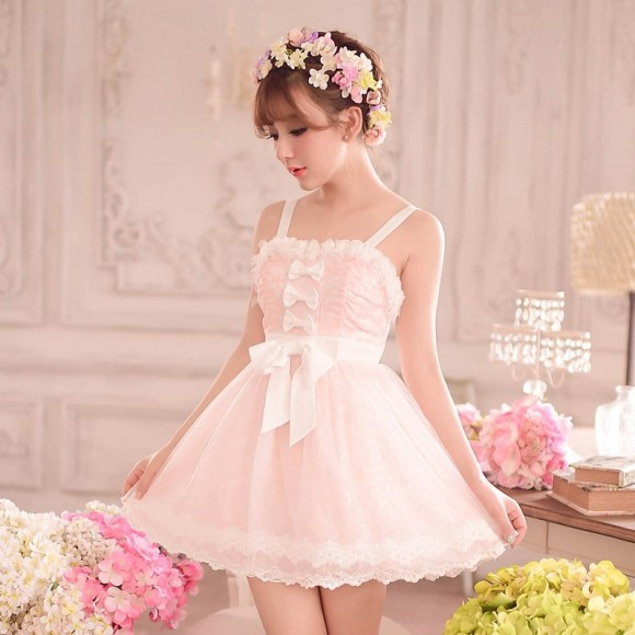 Princess-sweet-lolita-dress-Candy-rain-sweet-Summer-Japanese-style-bow-lace-sleeveless-shoulder-straps-princess