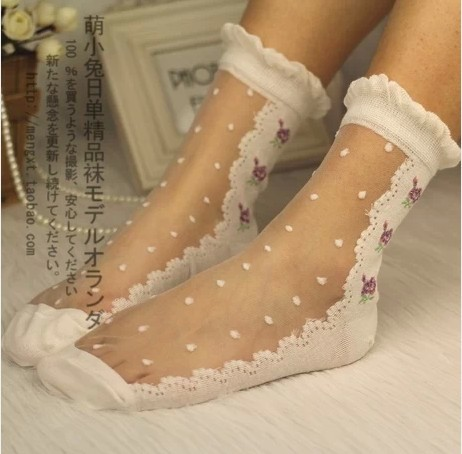 Princess-sweet-lolita-gothic-lolita-socks-Lace-rose-silk-socks-ultra-thin-glass-transparent-crystal-socks