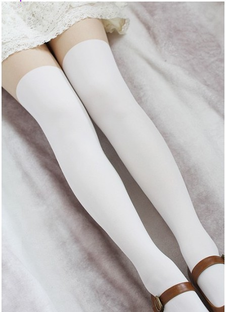 Princess-sweet-lolita-pantyhose-Up-is-skin-color-thigh-under-is-white-tights-false-high-student