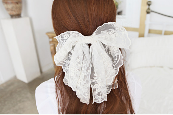 wide lace chiffon hair bow barrette