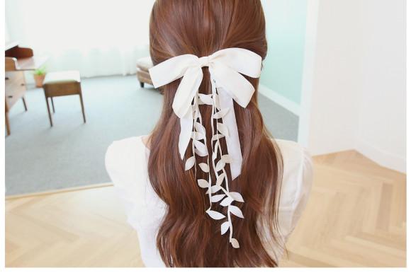 leaf cascade hair bow barrette